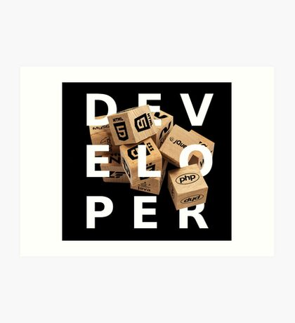 developer coder programming lenguage Art Print