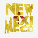 New Mexico Typographic Map Flag by A. TW