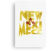 New Mexico Typographic Map Flag Metal Print