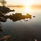 High Key Sunrise - Calm and Crystal Clear on the Shore of Lake Ontario in Toronto by Georgia Mizuleva