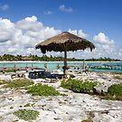 Old Thatched Sun Shade Caribbean Sea Mexico by John Keates