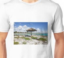 Old Thatched Sun Shade Caribbean Sea Mexico Unisex T-Shirt