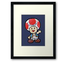 Toad from Super Mario Brothers Nintendo Recycled License Plate Art Portrait Framed Print