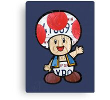 Toad from Super Mario Brothers Nintendo Recycled License Plate Art Portrait Canvas Print