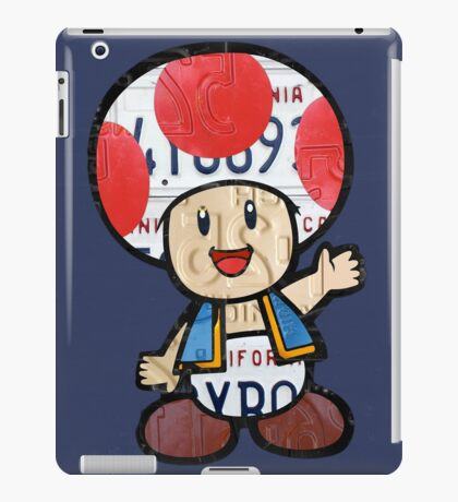 Toad from Super Mario Brothers Nintendo Recycled License Plate Art Portrait iPad Case/Skin