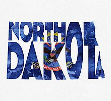 North Dakota Typographic Map Flag by A. TW