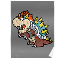 Bowser from Super Mario Brothers Nintendo Recycled License Plate Art Portrait Poster