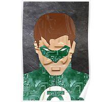 Green Lantern Superhero Recycled License Plate Art Poster