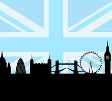 London Sites Skyline and Blue Union Jack/Flag  by NataliePaskell