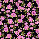 Pink Flower dots pattern by Go van Kampen