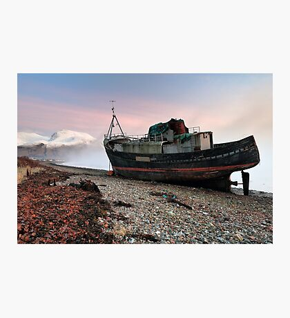 Loch Linnhe Misty Boat Sunset Photographic Print