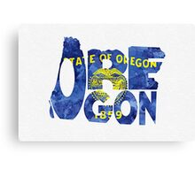 Oregon Typographic Map Flag Canvas Print