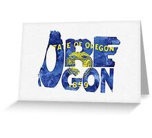 Oregon Typographic Map Flag Greeting Card