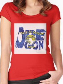 Oregon Typographic Map Flag Women's Fitted Scoop T-Shirt