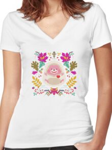 Hedgehog LOVE Women's Fitted V-Neck T-Shirt