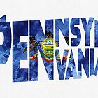 Pennsylvania Typographic Map Flag by A. TW