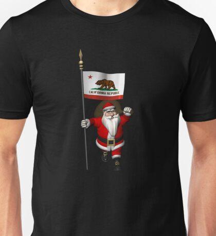 Santa Claus With Flag Of California Unisex T-Shirt