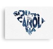 South Carolina Typographic Map Flag Canvas Print