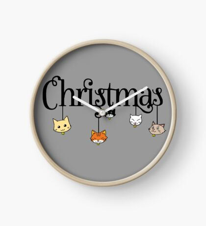 Christmas Cat Ball Merry Pet Kittens Animals New Year Gift Clock