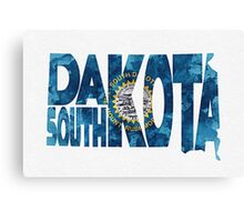 South Dakota Typographic Map Flag Canvas Print