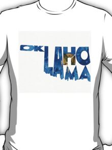 Oklahoma Typographic Map Flag T-Shirt