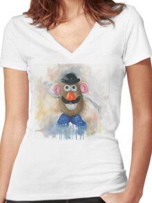Mr Potato Head - vintage nostalgia  Women's Fitted V-Neck T-Shirt
