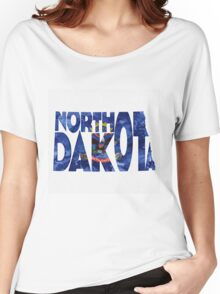 North Dakota Typographic Map Flag Women's Relaxed Fit T-Shirt