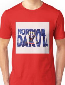North Dakota Typographic Map Flag Unisex T-Shirt