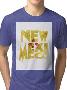 New Mexico Typographic Map Flag Tri-blend T-Shirt