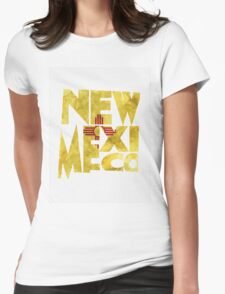 New Mexico Typographic Map Flag Womens Fitted T-Shirt