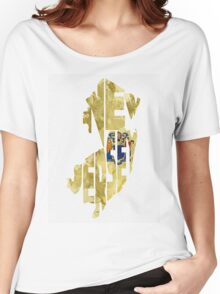 New Jersey Typographic Map Flag Women's Relaxed Fit T-Shirt