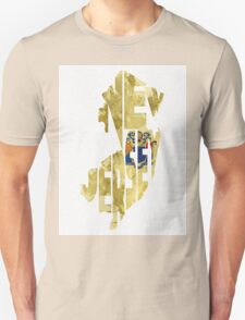 New Jersey Typographic Map Flag Unisex T-Shirt