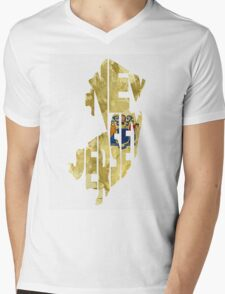 New Jersey Typographic Map Flag Mens V-Neck T-Shirt
