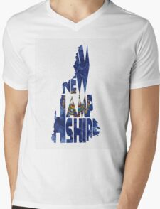 New Hampshire Typographic Map Flag Mens V-Neck T-Shirt