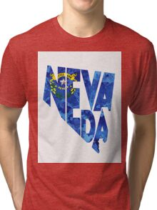 Nevada Typographic Map Flag Tri-blend T-Shirt