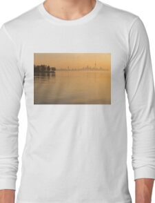 Soft Gold - Toronto Skyline In Velvety Morning Mist Long Sleeve T-Shirt