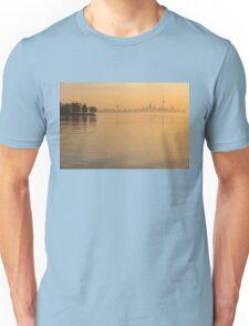 Soft Gold - Toronto Skyline In Velvety Morning Mist Unisex T-Shirt