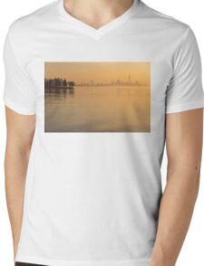 Soft Gold - Toronto Skyline In Velvety Morning Mist Mens V-Neck T-Shirt