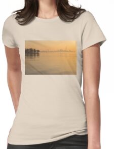 Soft Gold - Toronto Skyline In Velvety Morning Mist Womens Fitted T-Shirt
