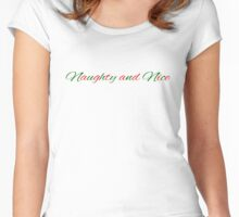 Naughty and Nice tshirt for Christmas Women's Fitted Scoop T-Shirt