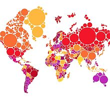 abstract world map with colorful red dots by beakraus