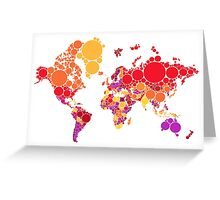 abstract world map with colorful red dots Greeting Card