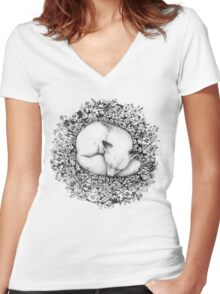 Fox Sleeping in Flowers Women's Fitted V-Neck T-Shirt