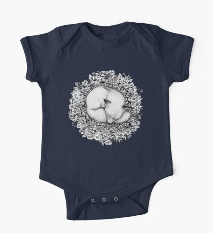 Fox Sleeping in Flowers One Piece - Short Sleeve