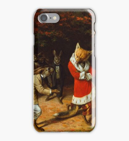 William Holbrook Beard - His Majesty Receives 1885. animals portrait: beasts, animals, foxes, hamster, Majesty, hares, costume, bathrobe, forest, trees, fantasy iPhone Case/Skin