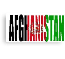 Afghanistan Font with Afghan Flag Canvas Print