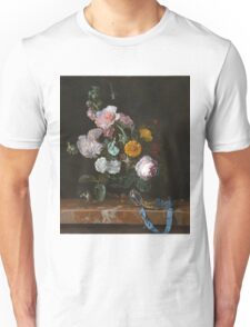 Willem Van Aelst - Vanitas Flower Still Life . Still life with flowers: still life with flowers, flowers, blossom, nature, botanical, floral flora, wonderful flower, plants, garden, vase Unisex T-Shirt
