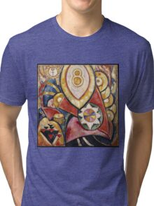 Marsden Hartley - Painting No. 48. Abstract painting: abstract art, geometric, expressionism, composition, lines, forms, creative fusion, spot, shape, illusion, fantasy future Tri-blend T-Shirt