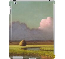 Martin Johnson Heade - Sunlight And Shadow The Newbury Marshesc 1871. Field landscape: field landscape, nature, village, garden, flowers, trees, sun, rustic, countryside, sky and clouds, summer iPad Case/Skin