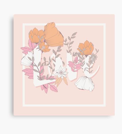 Flowers typography poster design, Love Canvas Print